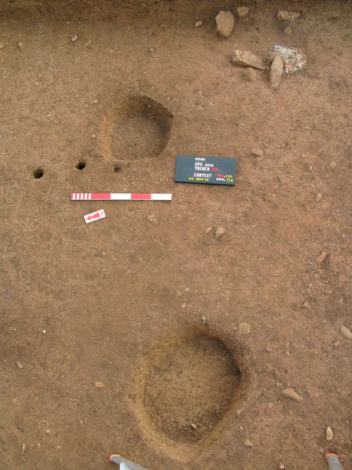 Shallow pits and numerous (wooden) stakes may illustrate evidence for the tanning of animal (pig) skins at the site.