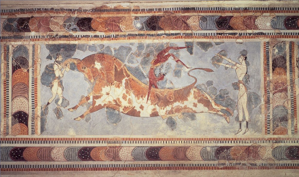 Public display of bull-leaping. Archaeological Museum, Heraklion, Crete