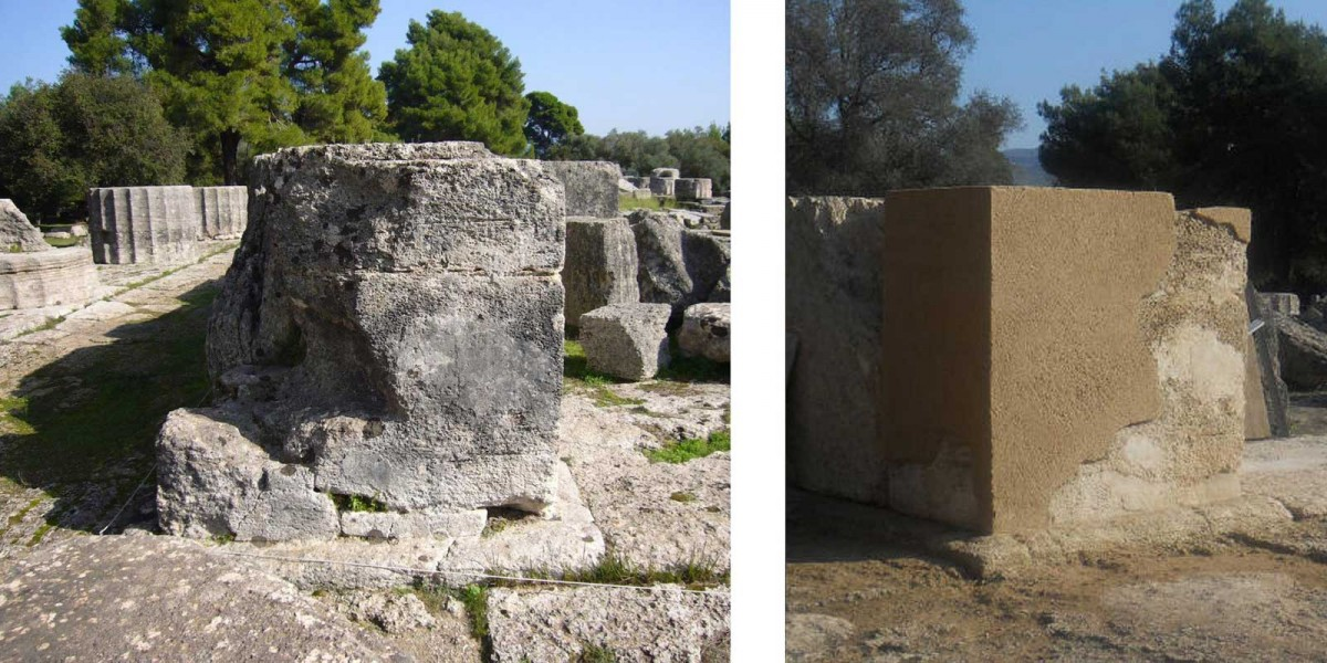 Fig. 1. The northern anta of the opisthodomos in May 2010 and after the filling in with artificial stone in 2012. Photos: N. Hellner (left), F. Beuthan (right). (© DAI)