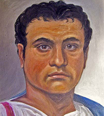 Portrait of the Roman man, painted by Penny Hill.