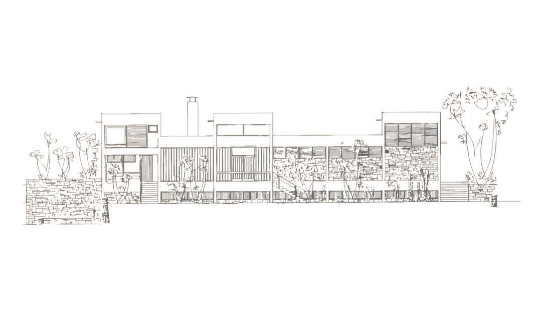 Section of the west facade of the Ioannina Museum. Drawing by Aris Konstantinidis.