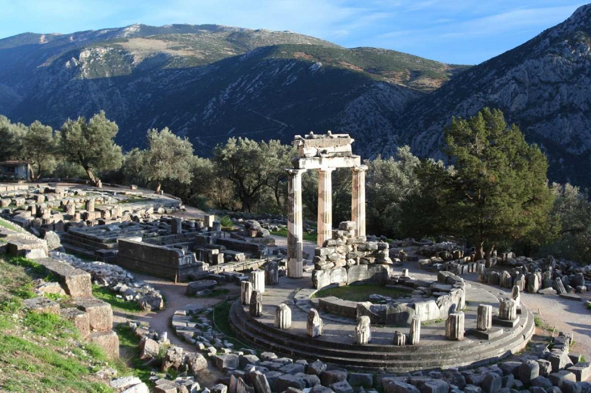 The tholos at the Sanctuary of Athena Pronaia.