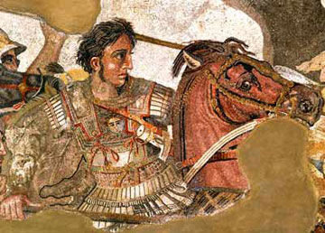 Alexander the Great. Mosaic in the House of a wealthy merchant in Pompeii.