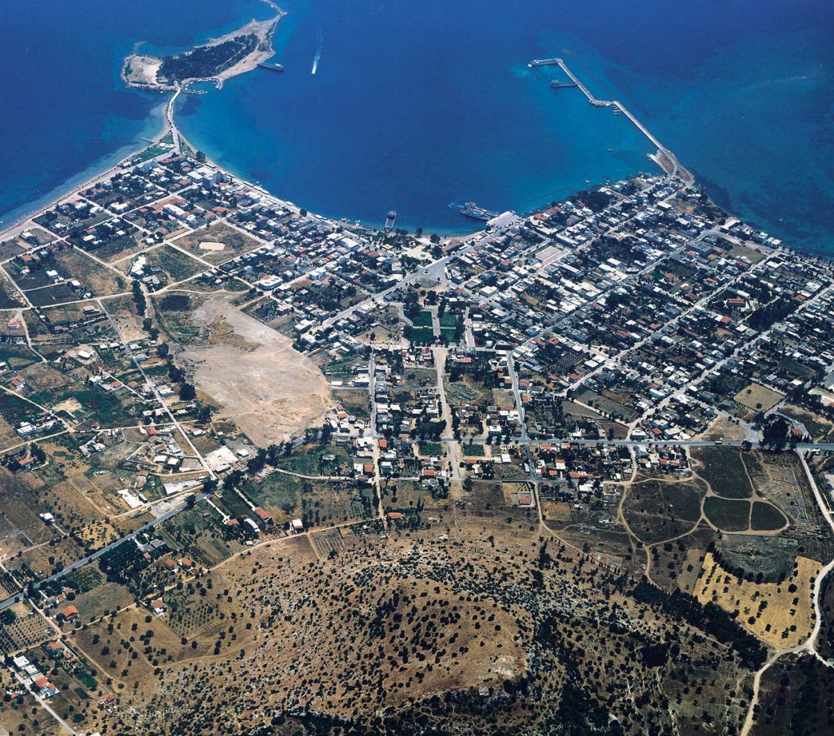 Aerial view of the modern town of Eretria, Euboea.