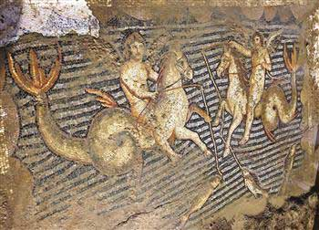 Fishing Eros figures on hippocampi.