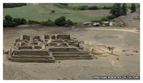 The temple, a rectangular structure, estimated to be up to 5,000 years old.