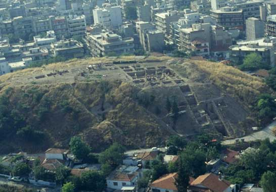 Aerial view of the excavated site at Toumba, Thessaloniki.