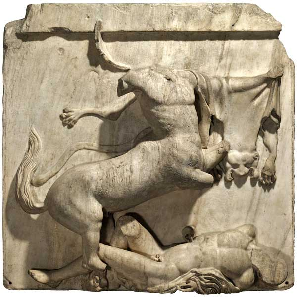 Centaur and Lapith, from the south metope of Parthenon. British Museum.