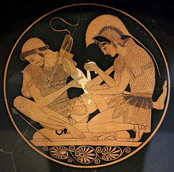 Achilles tending Patroclus wounded by an arrow. Tondo of an Attic red-figure kylix, ca. 500 BC. From Vulci.