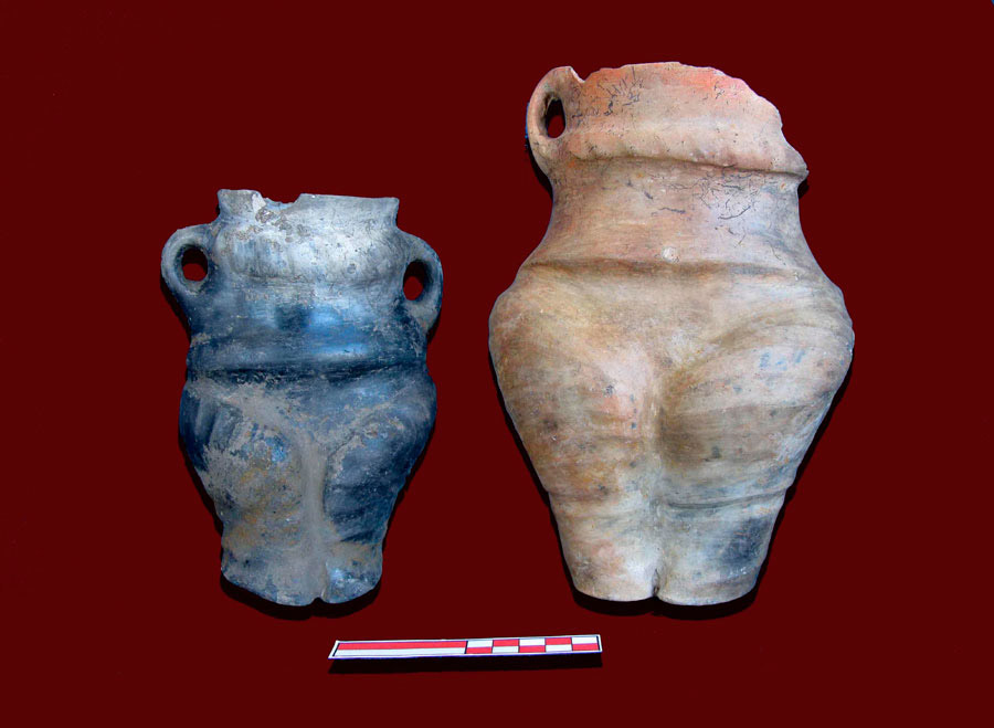 Human shaped vessels. 4500-3100 BC, Limnochori, Amyntaio.