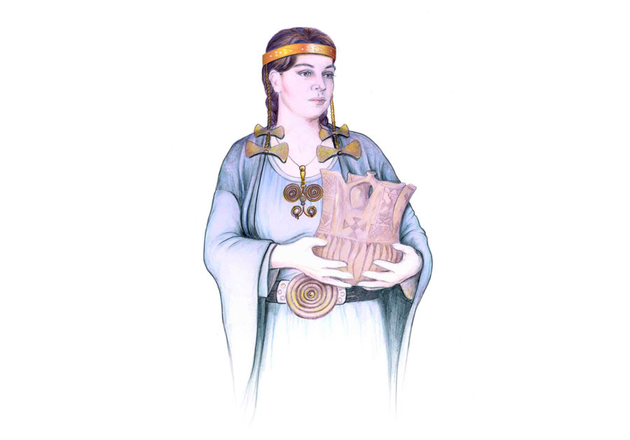 Image depicting priestess wearing jewellery found in Aghios Panteleimon, Amyntaio (11th century BC).