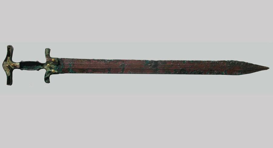 Bronze, gold-nailed sword. 11th century BC, Aghios Panteleimon, Amyntaio.