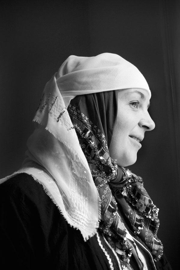 Emine Bourountzi in Xanthi, wearing a traditional costume. Photo: Pepi Loulakaki.