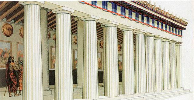 Reconstruction drawing of the Stoa Poikile.