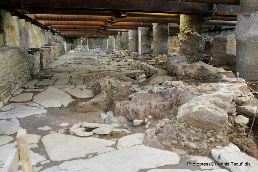 The Byzantine era road found during metro construction works in Thessaloniki.