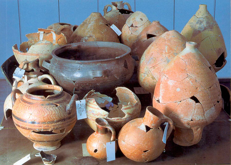 Pottery found during the excavations at Karabournaki.