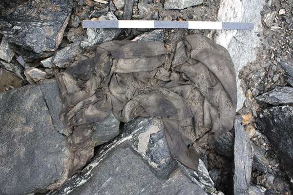 The tunic as it came out of the glacier.