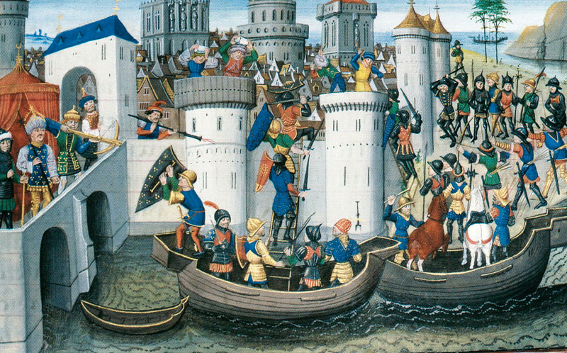 The siege of Constantinople. Miniature from a French illustrated manuscript, 15th century.