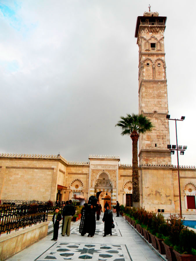 The 11th-Century minaret of the Umayyad Mosque, in the city of Aleppo.