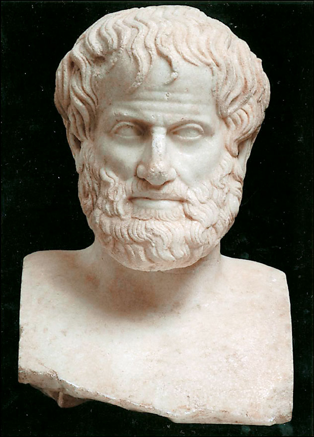 Marble bust of Aristotle (384-322 BC), unearthed beneath Acropolis in Athens. The 46-centimetre dates to the 1st century AD.