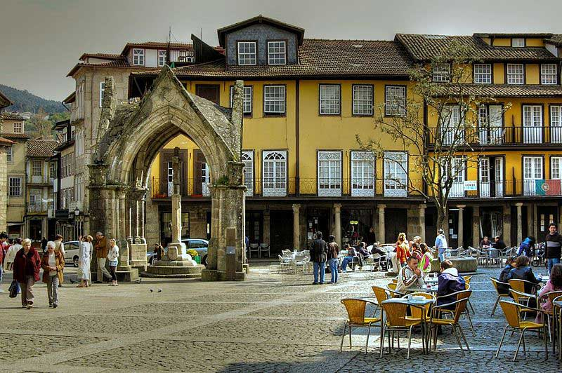 General view of Oliveira square, Guimarães, Portugal.