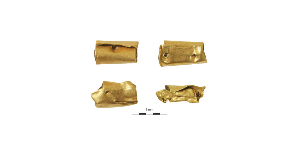Golden beads from a female burial. Windsor, UK, c. 2400 BC.
