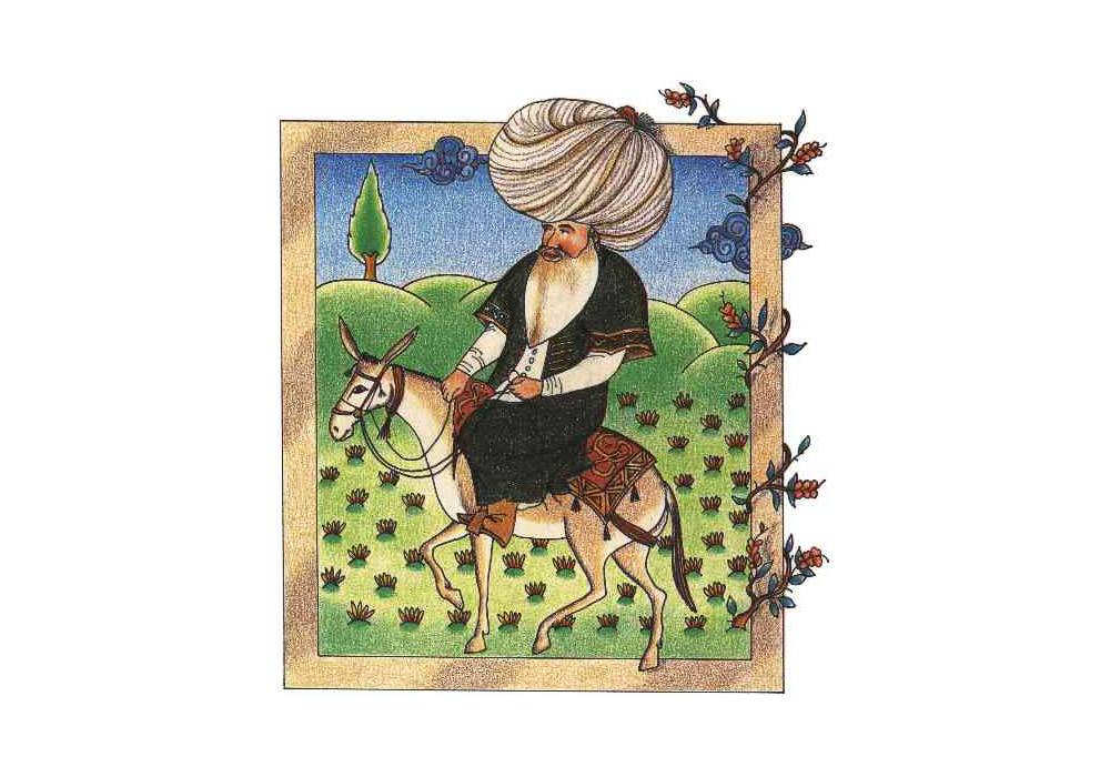Nasreddin Hodja as depicted in a 17th c. miniature.
