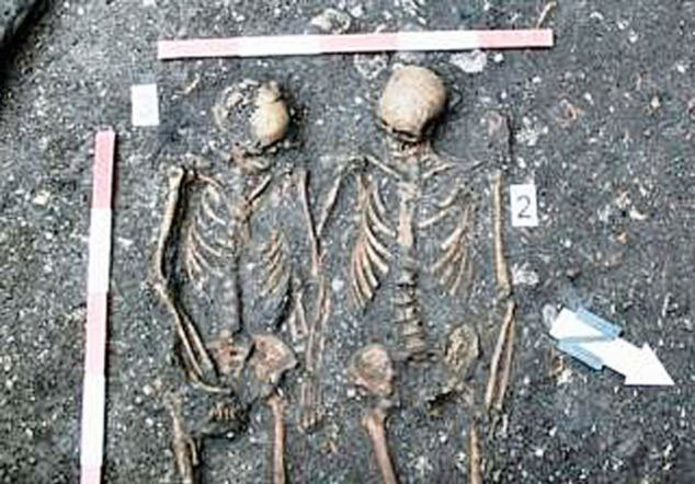 Couple buried holding hands found in a former Dominican monastery in Cluj-Napoca (photo credit: Daily Mail).