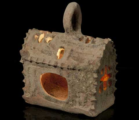 A ceramic lantern shaped like a miniature church, unearthed at Hamei Yoav in southern Israel (photo credit: Courtesy of the Israel Antiquities Authority).