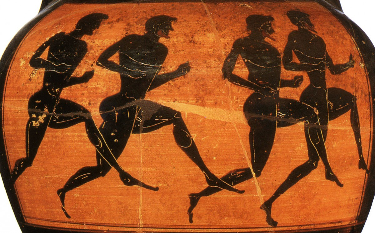 Runners depicted on a Panathenian Amphora from the Vatican Group G 23.500 BC. The Hermitage, St. Petersburg.