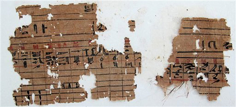 Hieroglyphic papyrus discovered at Wadi el-Jarf (photo: AP Photo/Egypt's Supreme Council Of Antiquities).