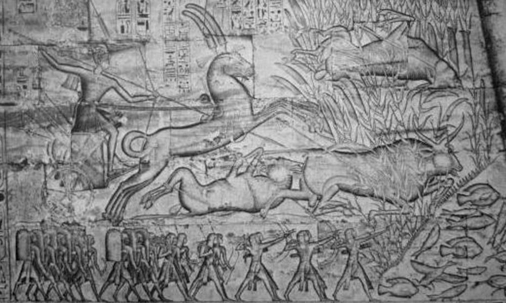Ramesses III and his sons hunting. Medinet Habu Temple.