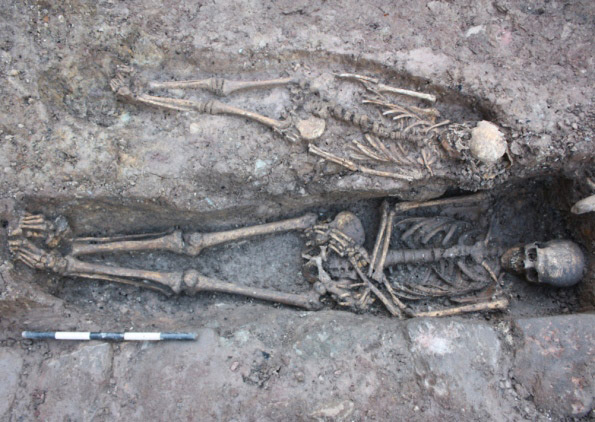 Two skeletons found alongside the one of a knight in Edinburgh.
