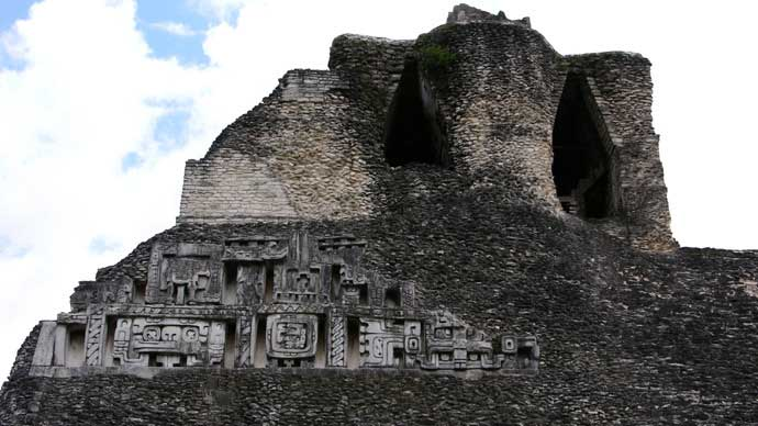 Mayan pyramid, Xunantunich, Belize. (Image from flickr.com / photo by Paul Huber).