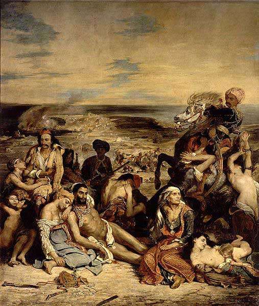 """Eugène Delacroix, """"The Massacre at Chios"""", 1824. Louvre, Paris."""