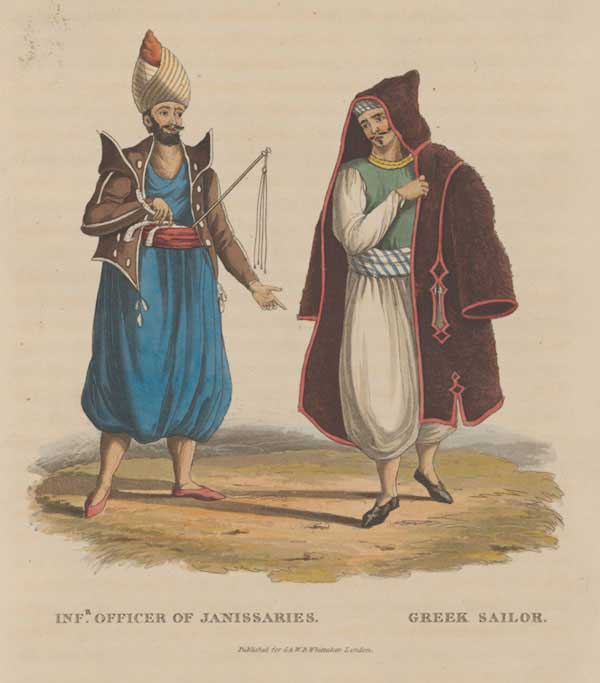 An officer of the Janissaries and a Greek sailor at Constantinople.