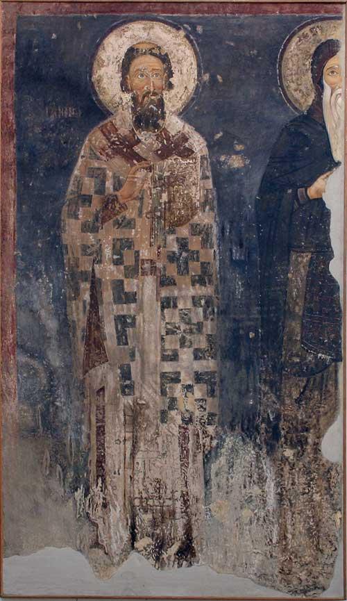 St. Savas and Symeon Nemanja. Mileševa Monastery, c. 1223. Wall-painting copy, casein tempera on flax canvas. Copied by Naum Andrić (15.12.1965). ΝΜΒ, Inv. No. 852.