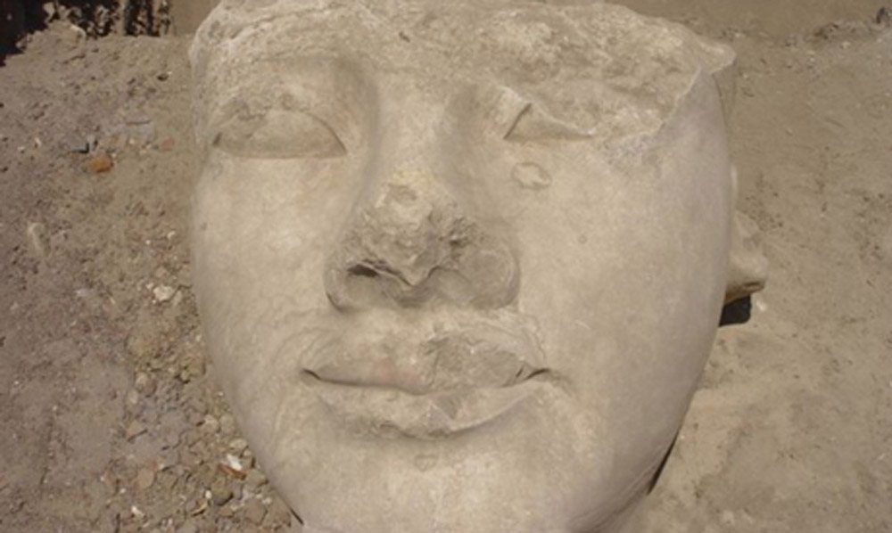 The head of Ramesses II after relocation.