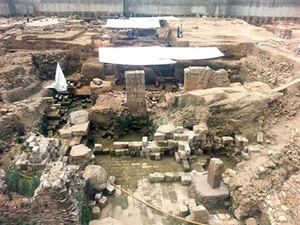 Roman ruins archaeologists believe contain the southern gate of Roman city on the site of Landmark Project.