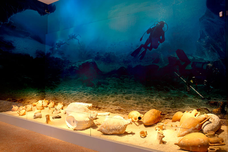 Part of the temporary exhibition on the Antikythera Shipwreck as presented in the National Archaeological Museum, Athens.
