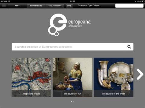 Europeana Open Culture: i-Pad screenshot.