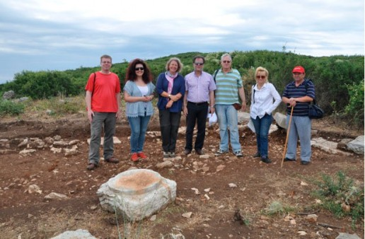View of the Stoa, at the Greek excavation section (June 2012). From left to right: J. Tomlinson, V. Noula, Dr M. Haagsma, A. Karachalios, D. Rupp, S. Karapanou and the guide of the 15th EPCA.