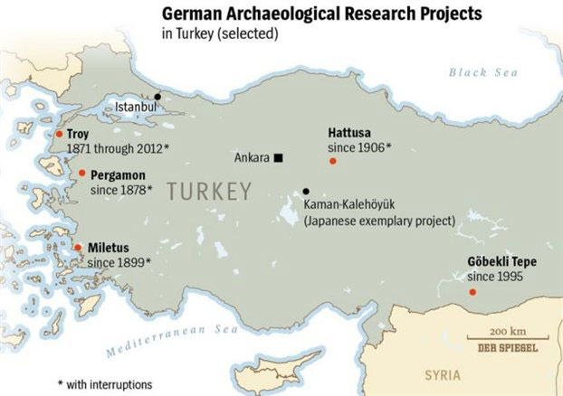 Map of German Archaeological Research Projects in Turkey.