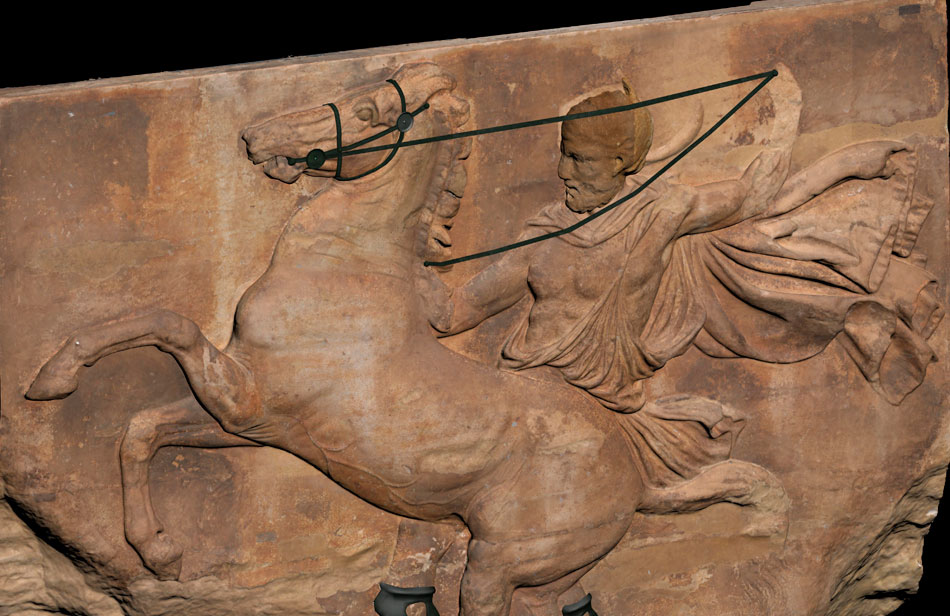 Horseman from the west frieze of the Parthenon. Reconstruction of the bronze bridles. (credit: Acropolis Museum)