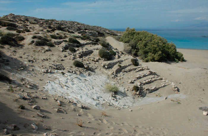 The remains of the ancient theatre on the small island of Lefki (Libyan Sea).
