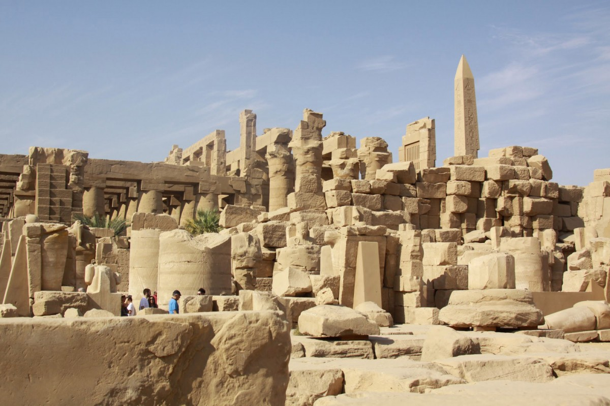 Ruins at the site of the Karnak temple complex.