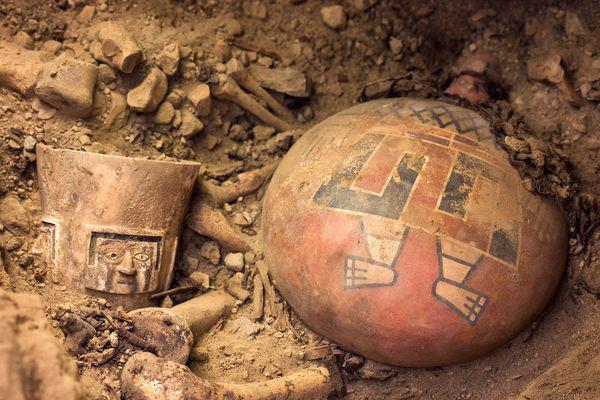 Decorated pottery, Wari culture. El Castillo de Huarmey, Peru, 700-1000 AD. Source: National Geographic.
