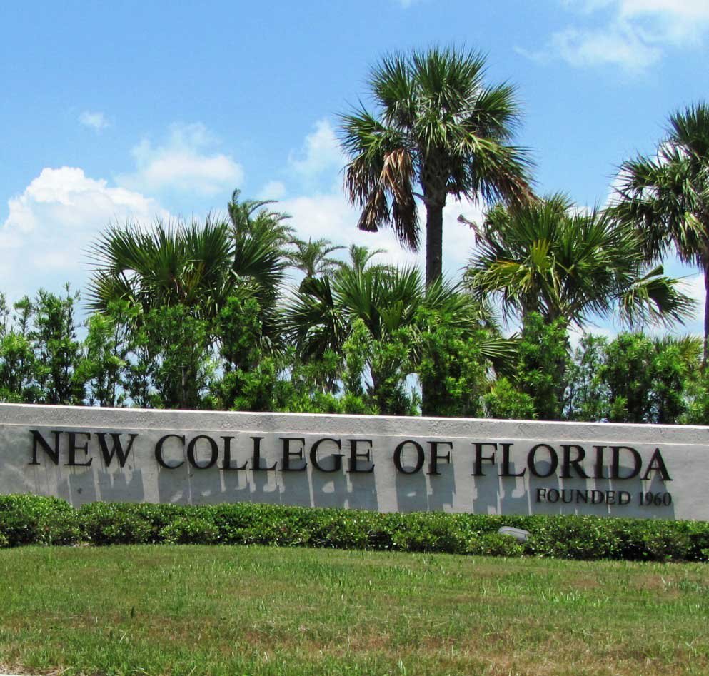 The New College of Florida sign.