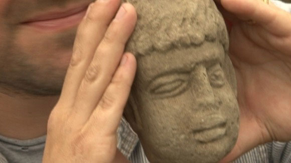 The late Roman stone head was found by Durham University archaeologists at Binchester Fort, County Durham, UK (Credit: Durham University).