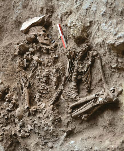 Double burial of an adult male and an adolescent, alongside flowers. Mount Carmel, Israel, ca.10000 BC.